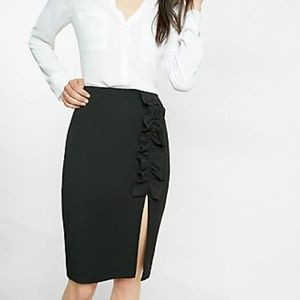 Express High Waisted Ruffle Front Pencil Skirt